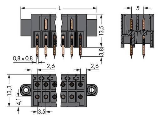 WAGO 713-1403/107-000 Male header (standaard) 1735 Totaal aantal polen 6 Rastermaat: 3.50 mm 50 stuks