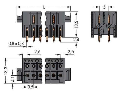 Male header (standaard) 1735 Totaal aantal polen 22 WAGO 713-1411/116-000 Rastermaat: 3.50 mm 20 stuks