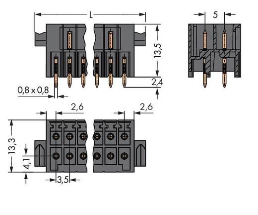 WAGO 713-1403/116-000 Male header (standaard) 1735 Totaal aantal polen 6 Rastermaat: 3.50 mm 50 stuks