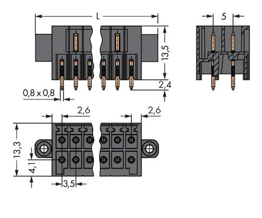 WAGO 713-1410/117-000 Male header (standaard) 1735 Totaal aantal polen 20 Rastermaat: 3.50 mm 20 stuks