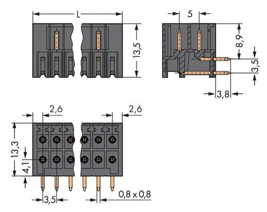 Male header (standaard) 1735 Totaal aantal polen 34 WAGO 713-1437 Rastermaat: 3.50 mm 20 stuks