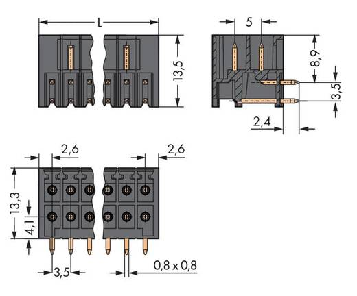 WAGO 713-1423/105-000 Male header (standaard) 1735 Totaal aantal polen 6 Rastermaat: 3.50 mm 100 stuks