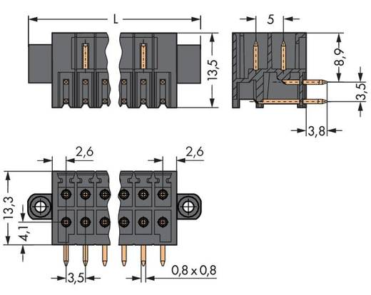 Male header (standaard) 1735 Totaal aantal polen 30 WAGO 713-1435/107-000 Rastermaat: 3.50 mm 20 stuks