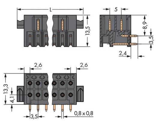 Male header (standaard) 1735 Totaal aantal polen 18 WAGO 713-1429/116-000 Rastermaat: 3.50 mm 25 stuks