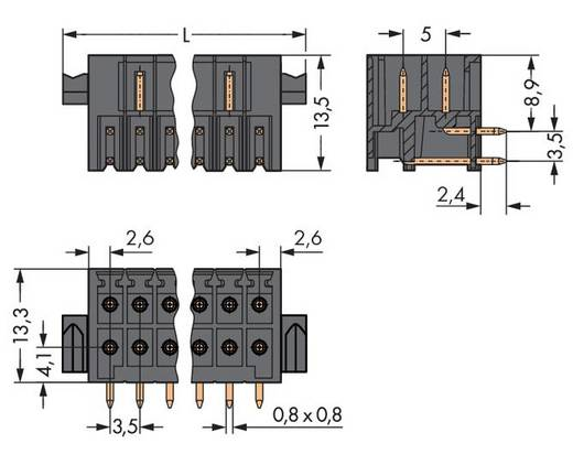 Male header (standaard) 1735 Totaal aantal polen 6 WAGO 713-1423/116-000 Rastermaat: 3.50 mm 50 stuks