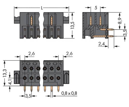 WAGO 713-1436/116-000 Male header (standaard) 1735 Totaal aantal polen 32 Rastermaat: 3.50 mm 20 stuks