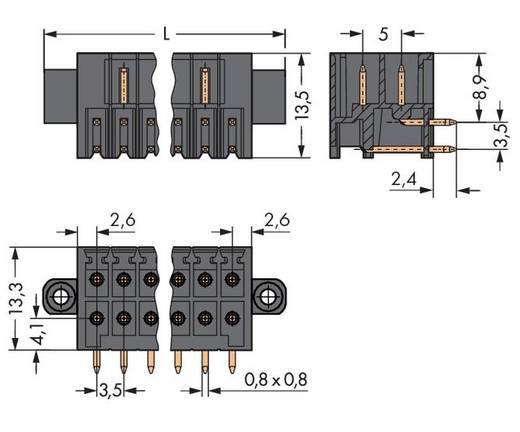 Male header (standaard) 1735 Totaal aantal polen 18 WAGO 713-1429/117-000 Rastermaat: 3.50 mm 25 stuks