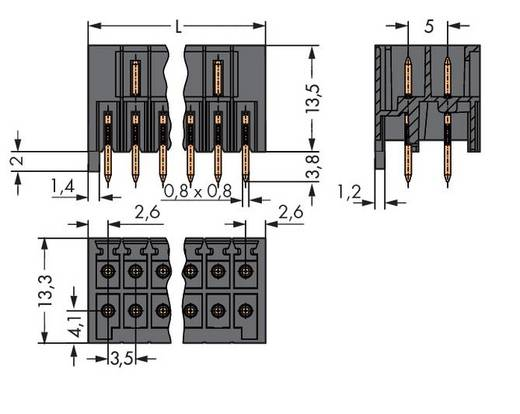 Male header (standaard) 1735 Totaal aantal polen 30 WAGO 713-1475 Rastermaat: 3.50 mm 20 stuks