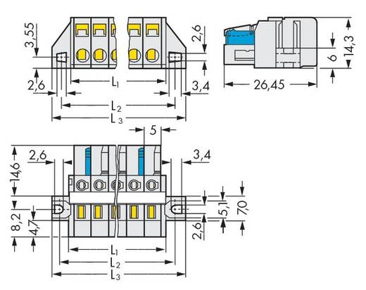 Busbehuizing-kabel 721 Totaal aantal polen 14 WAGO 721-114/027-000 Rastermaat: 5 mm 25 stuks