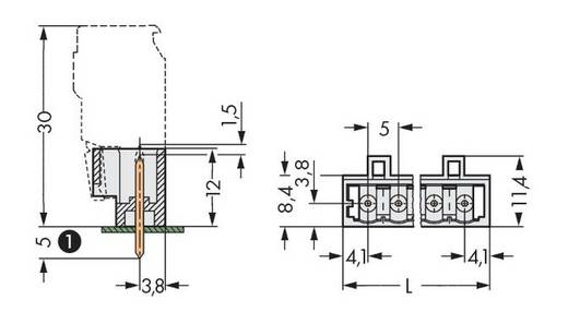 Male header (standaard) 2060 Totaal aantal polen 12 WAGO 721-142/001-000 Rastermaat: 5 mm 100 stuks