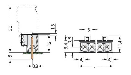 Male header (standaard) 2060 Totaal aantal polen 3 WAGO 721-163/001-000 Rastermaat: 5 mm 200 stuks
