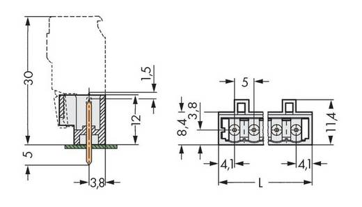 WAGO 721-169/001-000 Male header (standaard) 2060 Totaal aantal polen 9 Rastermaat: 5 mm 100 stuks