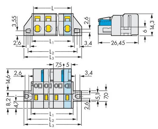 Busbehuizing-kabel 721 Totaal aantal polen 5 WAGO 721-205/031-000 Rastermaat: 7.50 mm 50 stuks