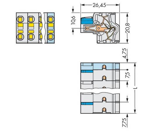 Busbehuizing-kabel Totaal aantal polen 3 WAGO 721-2203/026-