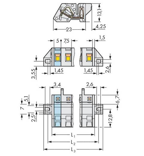 Busbehuizing-kabel 721 Totaal aantal polen 2 WAGO 721-332/031-000 Rastermaat: 7.50 mm 50 stuks
