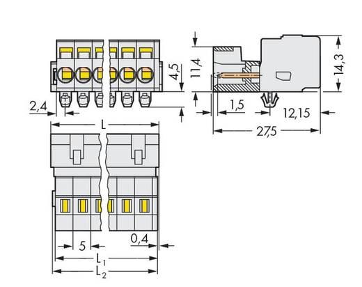 Male header (standaard) 2060 Totaal aantal polen 6 WAGO 721-606/018-000 Rastermaat: 5 mm 50 stuks