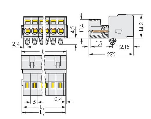 WAGO 721-614/018-000/035-000 Male header (standaard) 2060 Totaal aantal polen 14 Rastermaat: 5 mm 25 stuks