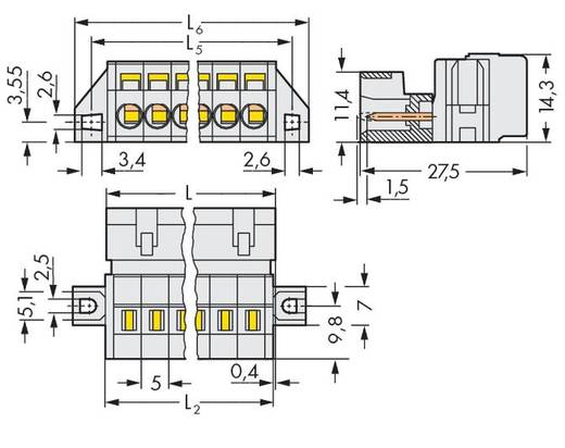 Male header (standaard) 2060 Totaal aantal polen 6 WAGO 721-606/019-000 Rastermaat: 5 mm 50 stuks