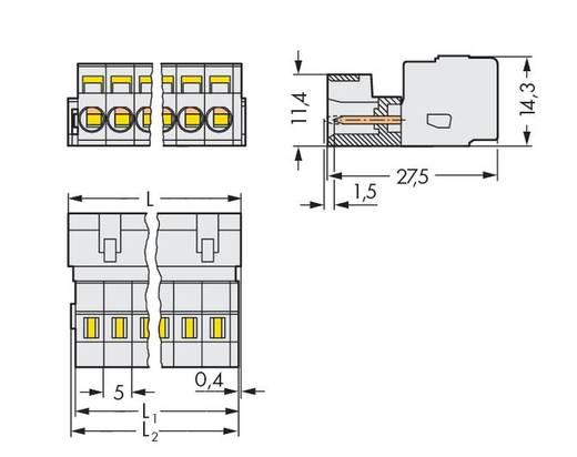 Male header (standaard) 2060 Totaal aantal polen 6 WAGO 721-606/034-000 Rastermaat: 5 mm 50 stuks