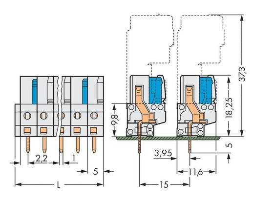 WAGO 722-134 Busbehuizing-board 722 Totaal aantal polen 4 Rastermaat: 5 mm 100 stuks