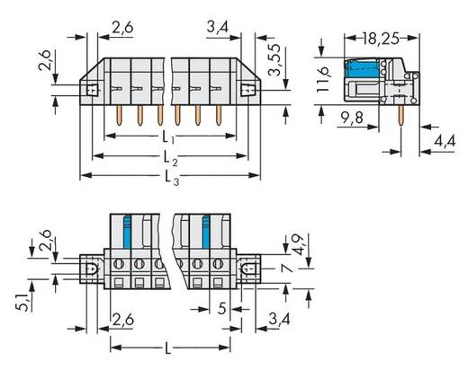 WAGO 722-233/031-000 Busbehuizing-board 722 Totaal aantal polen 3 Rastermaat: 5 mm 50 stuks