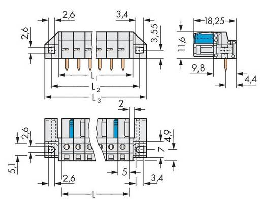 WAGO 722-235/047-000 Busbehuizing-board 722 Totaal aantal polen 5 Rastermaat: 5 mm 50 stuks