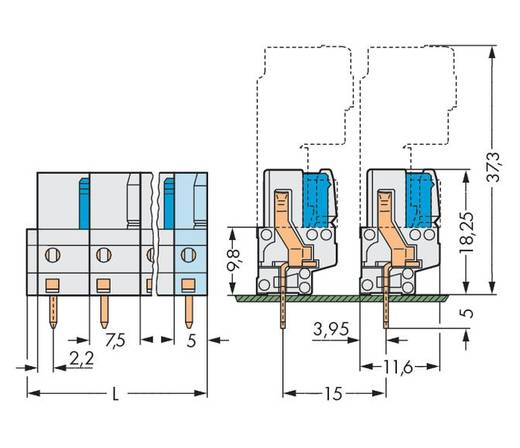 WAGO 722-746 Busbehuizing-board 722 Totaal aantal polen 16 Rastermaat: 7.50 mm 10 stuks