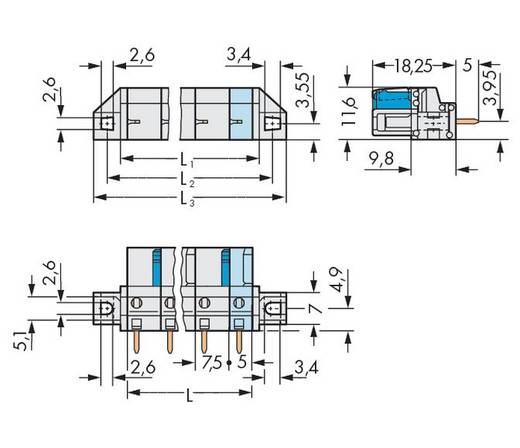 Busbehuizing-board 722 Totaal aantal polen 5 WAGO 722-735/031-000 Rastermaat: 7.50 mm 50 stuks