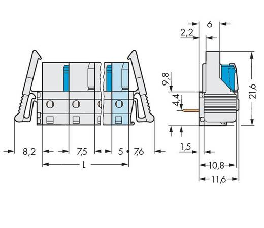 Busbehuizing-board 722 Totaal aantal polen 11 WAGO 722-841/039-000 Rastermaat: 7.50 mm 10 stuks