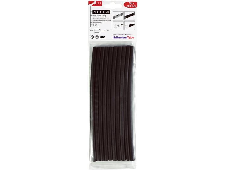 Krimpkous HIS-3 zwart 03:01 Ø voor-na krimpen: 6 mm-2 mm Krimpverhouding 3:1 10 stuks Zwart