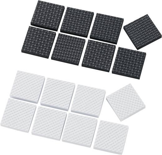 Apparaatvoeten Zelfklevend, Vierkant Wit, Zwart (l x b x h) 25 x 25 x 4 mm 16 stuks