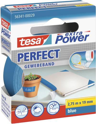 TESA Textieltape Blauw (l x b) 2.75 m x 19 mm Rubber Inhoud: 1 rollen