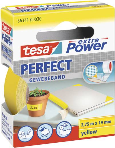 TESA Textieltape Geel (l x b) 2.75 m x 19 mm Rubber Inhoud: 1 rollen