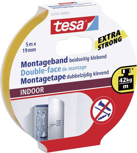 tesa Montagetape Oranje (l x b) 5 m x 19 mm Rubber Inhoud: 1 rollen
