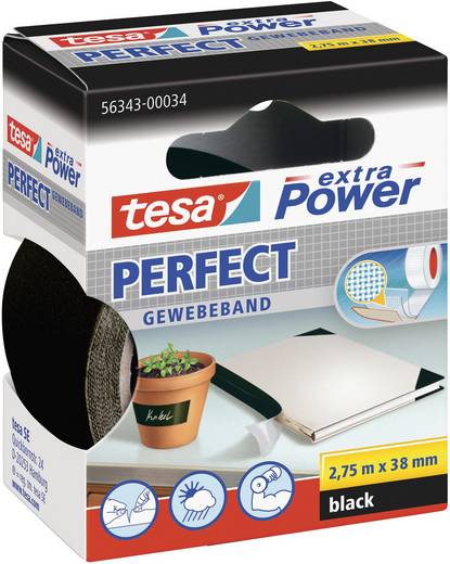 TESA Textieltape Zwart (l x b) 2.75 m x 38 mm Rubber Inhoud: 1 rollen