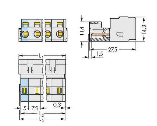 WAGO 723-603/000-042 Male header (standaard) 2080 Totaal aantal polen 3 Rastermaat: 7.50 mm 100 stuks