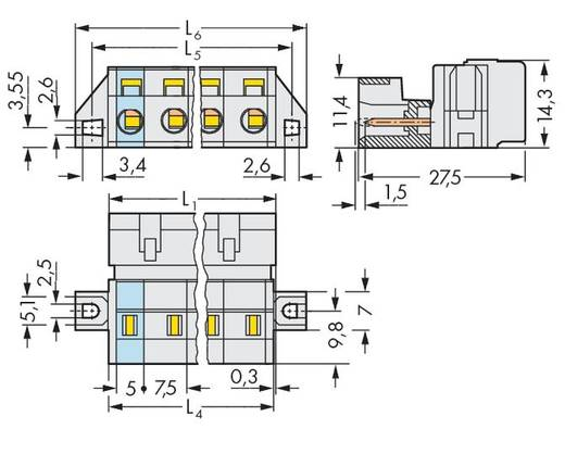 WAGO 723-603/019-000 Male header (standaard) 2080 Totaal aantal polen 3 Rastermaat: 7.50 mm 50 stuks