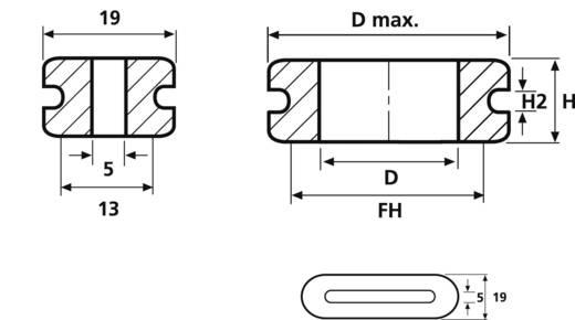 Kabeldoorvoering Klem-Ø (max.) 17 mm PVC Grijs HellermannTyton HV1606-PVC-GY-D1 1 stuks
