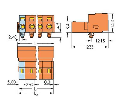 WAGO 731-634/018-000 Male header (standaard) 2081 Totaal aantal polen 4 Rastermaat: 7.62 mm 50 stuks