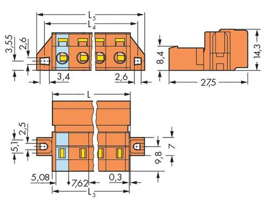 Male header (standaard) 2081 Totaal aantal polen 6 WAGO 731-636/019-000 Rastermaat: 7.62 mm 25 stuks