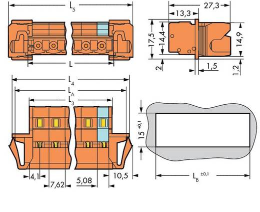 Male header (standaard) Totaal aantal polen 5 WAGO 731-635/