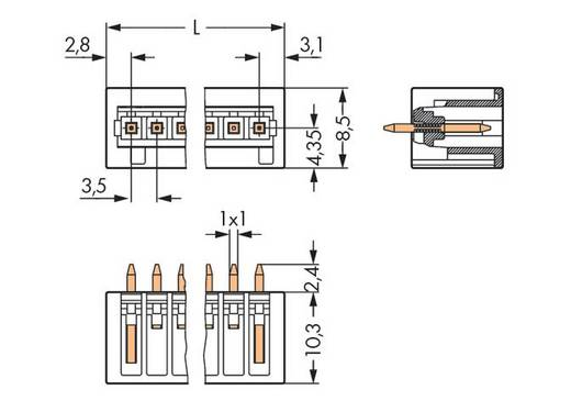 Male header (standaard) 2140 Totaal aantal polen 3 WAGO 734-133/105-604 Rastermaat: 3.50 mm 200 stuks