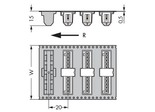 Male header (standaard) Totaal aantal polen 6 WAGO 734-136/