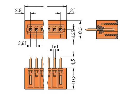 Male header (standaard) 2140 Totaal aantal polen 3 WAGO 734-233 Rastermaat: 3.81 mm 200 stuks