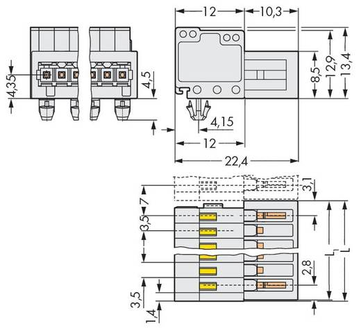 Male header (standaard) 2140 Totaal aantal polen 8 WAGO 734-308/018-000 Rastermaat: 3.50 mm 50 stuks