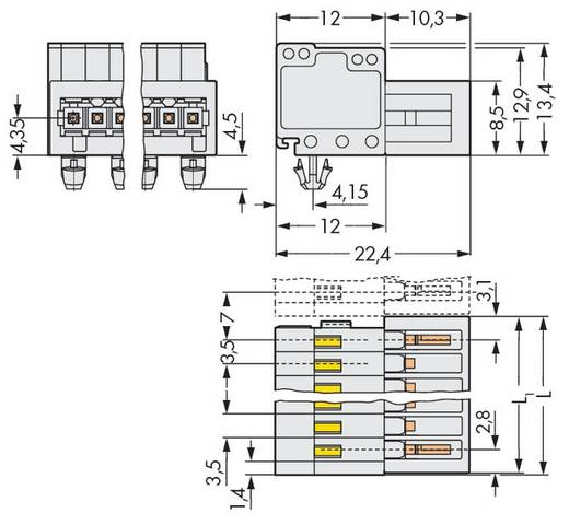 WAGO 734-304/018-000 Male header (standaard) 2140 Totaal aantal polen 4 Rastermaat: 3.50 mm 100 stuks
