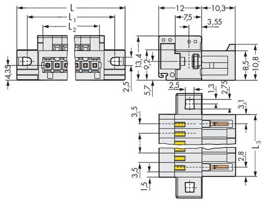 Male header (standaard) Totaal aantal polen 12 WAGO 734-312
