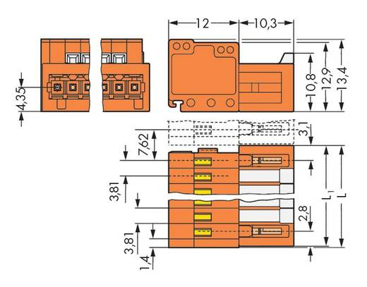 WAGO 734-334 Male header (standaard) 2140 Totaal aantal polen 4 Rastermaat: 3.81 mm 100 stuks