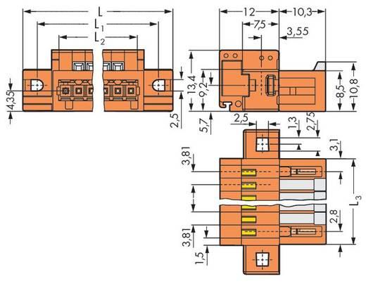 Male header (standaard) 2140 Totaal aantal polen 6 WAGO 734-336/019-000 Rastermaat: 3.81 mm 50 stuks