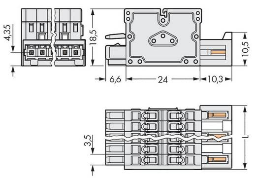 Combi-connector Totaal aantal polen 6 WAGO 734-366